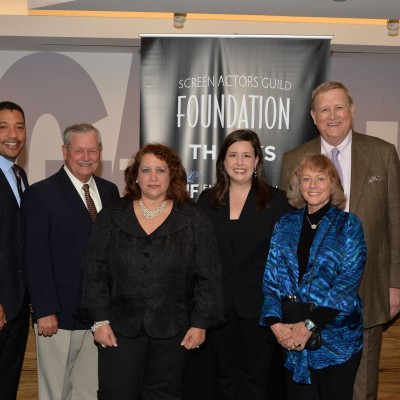 NYC Film Commissioner Cynthia Lopez (center) with SAG Foundation Board Members David White, Dave Hutton, Rebecca Damon, Maureen Donnelly and Ken Howard attend the opening of the SAG Foundation's New York Actors Center, April 30, 2014. Photo by Andrew Walker/Getty Images