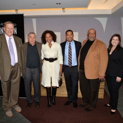 SAG Foundation Board Member Ken Howard, Robert DeNiro, Grace Hightower, SAG Foundation Board Member David White, SAG-AFTRA NY Local President Mike Hodge and SAG Foundation Board Member Rebecca Damon attend the opening of the SAG Foundation's New York Actors Center, April 30, 2014. Photo by Andrew Walker/Getty Images