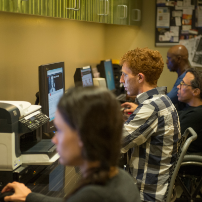 Computer Lab at the Actors Center - Los Angeles. Photo by Neil Jacobs.
