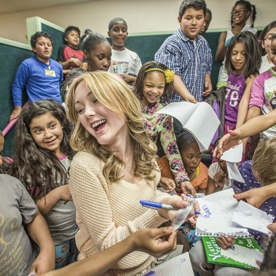 Actor Victory Van Tuyl reads for Los Angeles BookPALS on Read Across America Day 2013. Photo by Neil Jacobs.