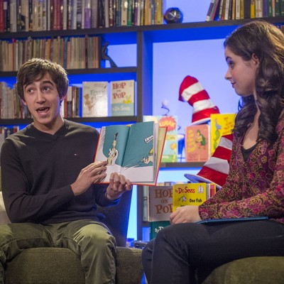 Actors Vincent Martella and Vanessa Marano read for BookPALS LIVE on Read Across America Day 2013. Photo by Neil Jacobs.